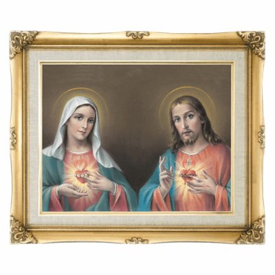 Cromo N B Milan Italy Jesus and Mary Twin Hearts w/Gold Framed Picture