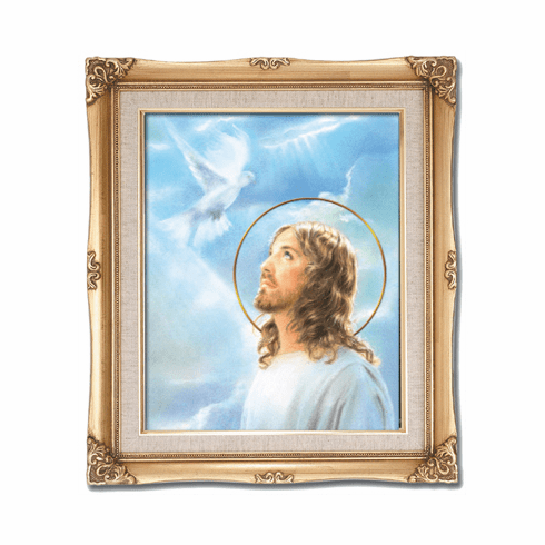 Cromo N B Milan Italy Jesus and the Dove Holy Spirit w/Gold Framed Picture