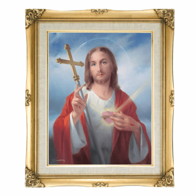 Cromo N B Milan Italy Jesus Christ with Cross w/Gold Framed Picture