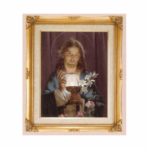 Cromo N B Milan Italy Jesus Offering Holy Communion w/Gold Framed Picture