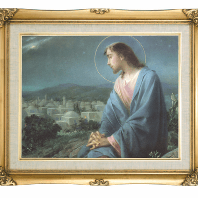 Cromo N B Milan Italy Jesus Overlooking the City w/Gold Framed Picture
