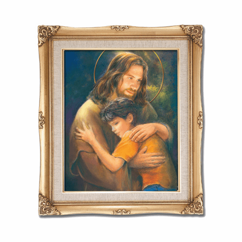Cromo N B Milan Italy Jesus with a Child w/Gold Framed Picture