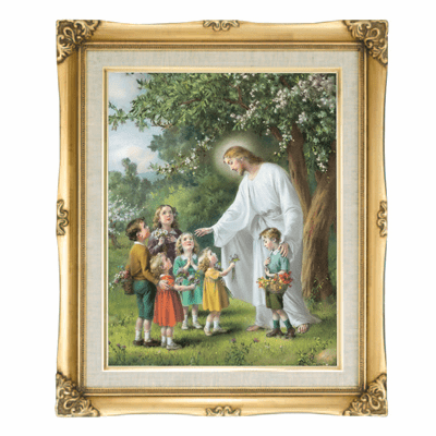 Cromo N B Milan Italy Jesus with Children w/Gold Framed Picture