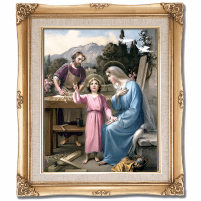 Cromo N B Milan Italy Joseph Working with Holy Family w/Gold Framed Picture