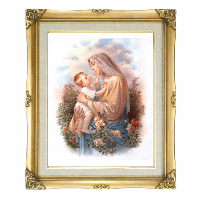 Cromo N B Milan Italy Madonna and Child Jesus w/Gold Framed Picture