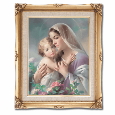 Cromo N B Milan Italy Madonna and Child with Roses w/Gold Framed Picture