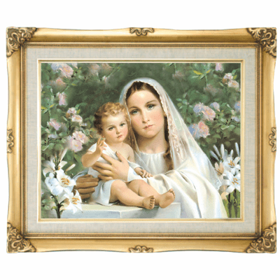 Cromo N B Milan Italy Madonna with Lilies w/Gold Framed Picture