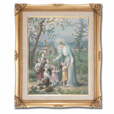 Cromo N B Milan Italy Mary with Children w/Gold Framed Picture