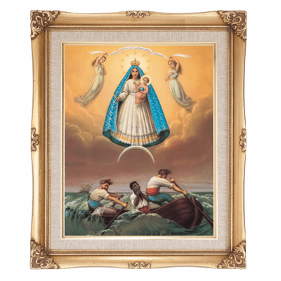 Cromo N B Milan Italy Our Lady of Charity w/Gold Framed Picture
