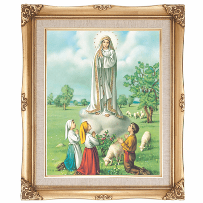 Cromo N B Milan Italy Our Lady of Fatima w/Gold Framed Picture