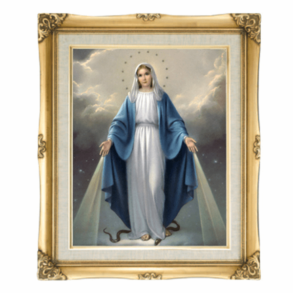 Cromo N B Milan Italy Our Lady of Grace w/Gold Framed Picture