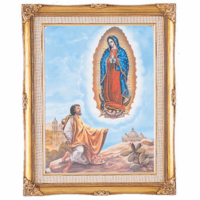 Cromo N B Milan Italy Our Lady of Guadalupe Diego w/Gold Framed Picture