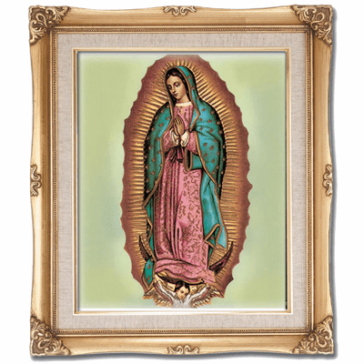 Cromo N B Milan Italy Our Lady of Guadalupe Green w/Gold Framed Picture