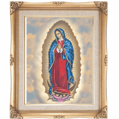 Cromo N B Milan Italy Our Lady of Guadalupe w/Gold Framed Picture