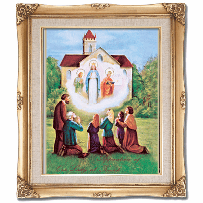 Cromo N B Milan Italy Our Lady of Knock Enthronement w/Gold Framed Picture