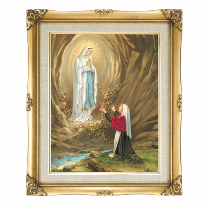 Cromo N B Milan Italy Our Lady of Lourdes w/Gold Framed Picture