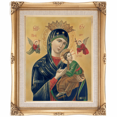 Cromo N B Milan Italy Our Lady of Perpetual Help w/Gold Framed Picture