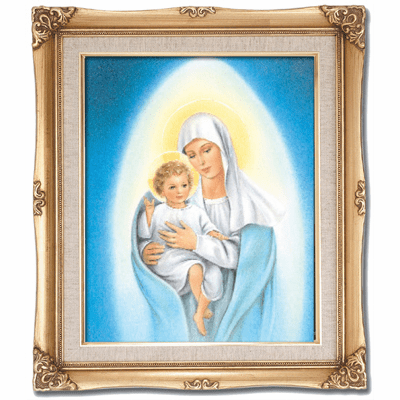 Cromo N B Milan Italy Our Lady of Snows w/Gold Framed Picture