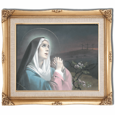 Cromo N B Milan Italy Our Lady of Sorrows w/Gold Framed Picture