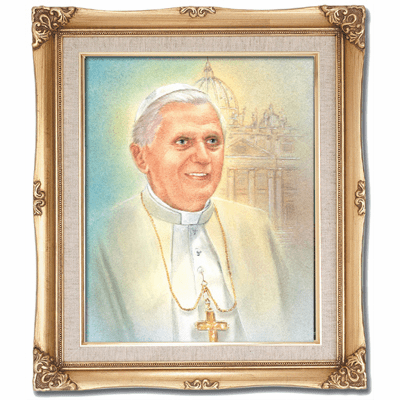 Cromo N B Milan Italy Pope Benedictus XVl w/Gold Framed Picture