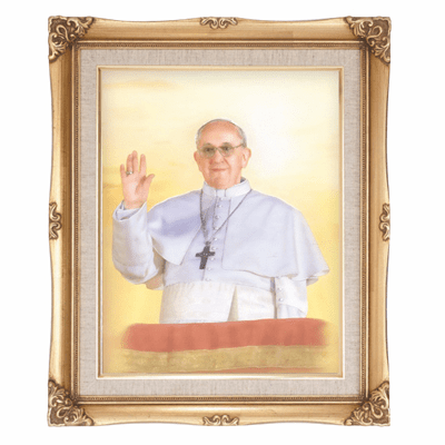 Cromo N B Milan Italy Pope Francis w/Gold Framed Picture