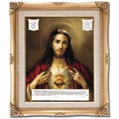 Cromo N B Milan Italy Sacred Heart of Jesus Certificate w/Gold Framed Picture