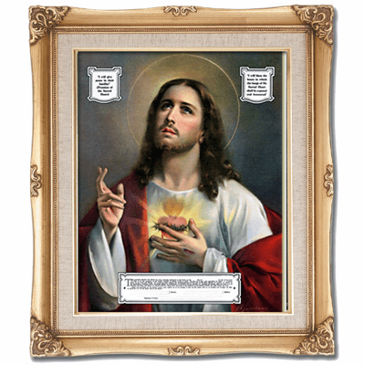 Cromo N B Milan Italy Sacred Heart of Jesus Enthronement w/Gold Framed Picture