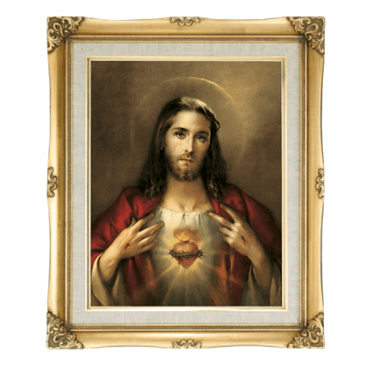 Cromo N B Milan Italy Sacred Heart of Jesus w/Gold Framed Picture