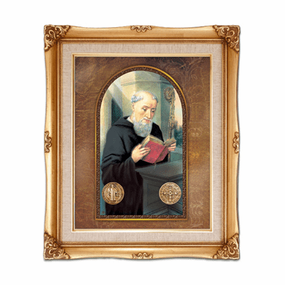 Cromo N B Milan Italy Saint Benedict w/Gold Framed Picture