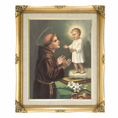 Cromo N B Milan Italy St Anthony of Padua w/Gold Framed Picture