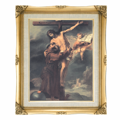 Cromo N B Milan Italy St Francis of Assisi w/Gold Framed Picture
