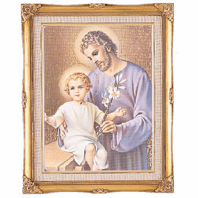 Cromo N B Milan Italy St Joseph and Child Jesus w/Gold Framed Picture