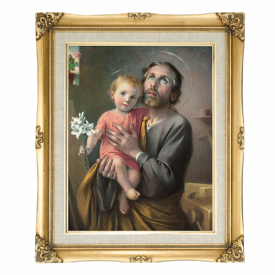 Cromo N B Milan Italy St Joseph and Jesus w/Gold Framed Picture
