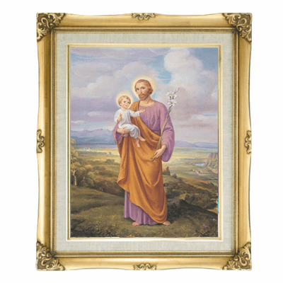 Cromo N B Milan Italy St Joseph Enthronement w/Gold Framed Picture