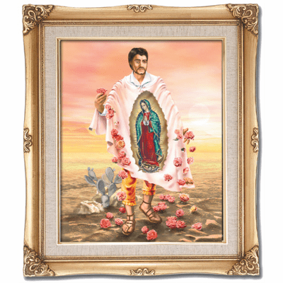 Cromo N B Milan Italy St Juan Diego w/Gold Framed Picture