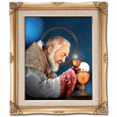 Cromo N B Milan Italy St Padre Pio Offering Communion w/Gold Framed Picture