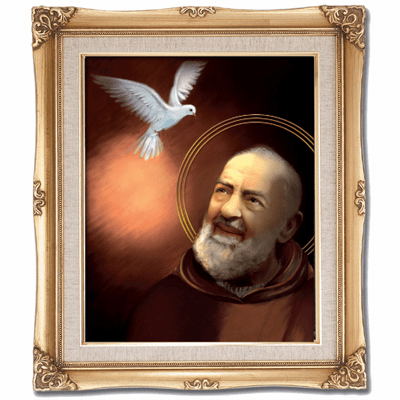 Cromo N B Milan Italy St Pio of Pietrelcina w/Gold Framed Picture