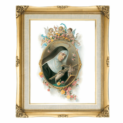 Cromo N B Milan Italy St Rita of Cascia w/Gold Framed Picture