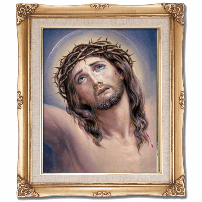 Cromo N B Milan Italy Suffering Christ Jesus w/Gold Framed Picture