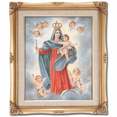 Cromo N B Milan Italy Virgen Los Angeles w/Gold Framed Picture