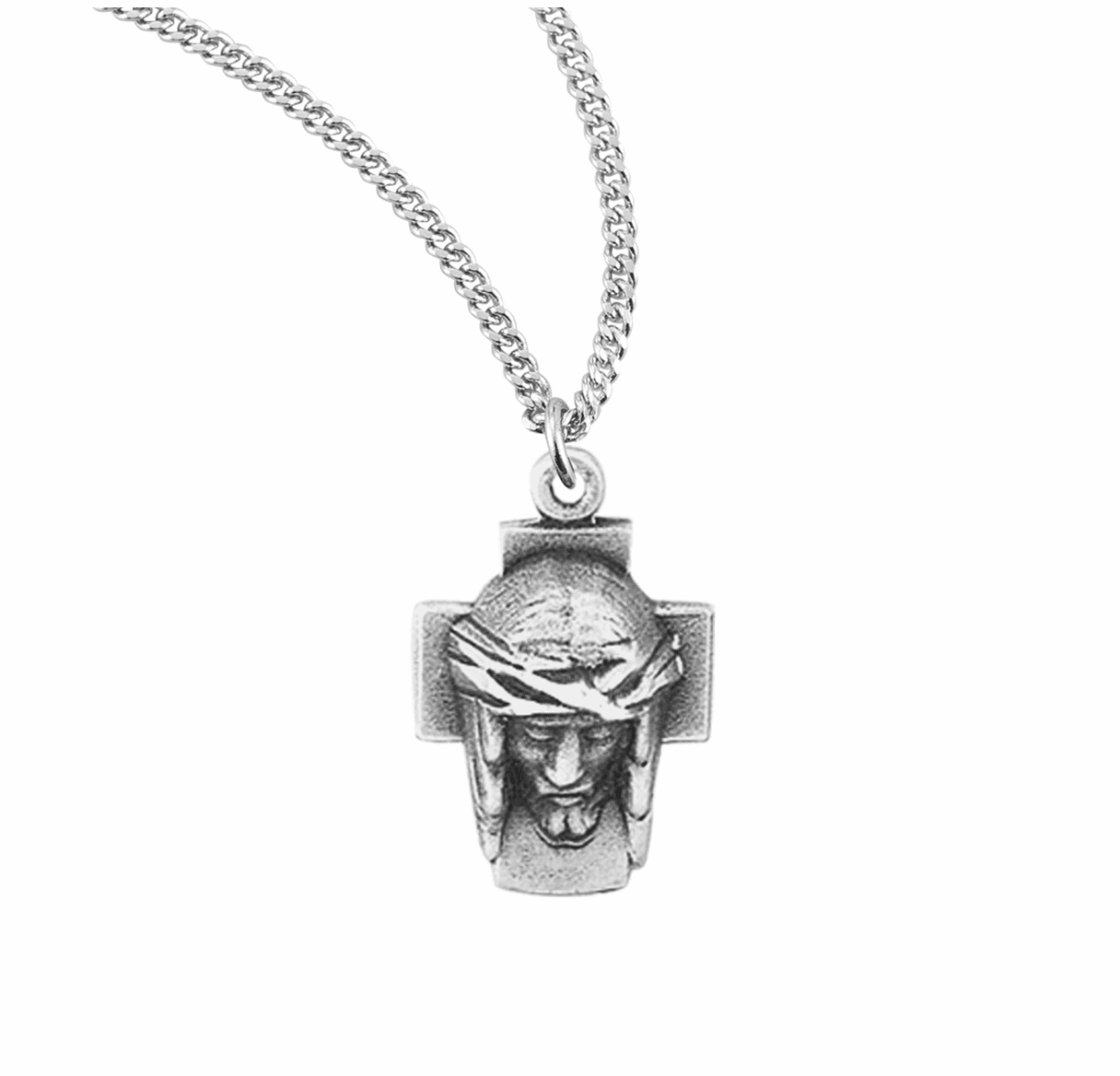 Cross Jesus w/Crown of Thorns Sterling Silver Necklace by HMH Religious