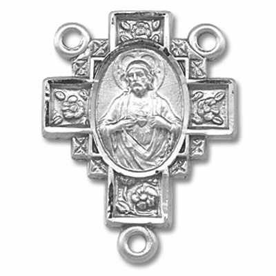 Cross Sarced Heart of Jesus Sterling Silver Center Rosary Part by HMH Religious