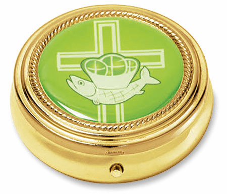 Cross with Loaves and Fish Eucharist Pyx with Epoxy Lid Gold Finished 3pc Sets