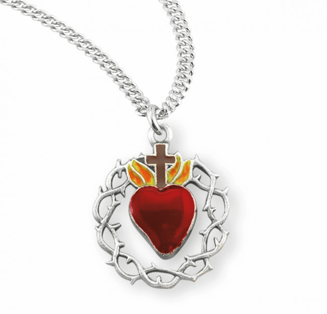 HMH Religious Crown of Thorns Red Enameled Heart Sterling Silver Necklace