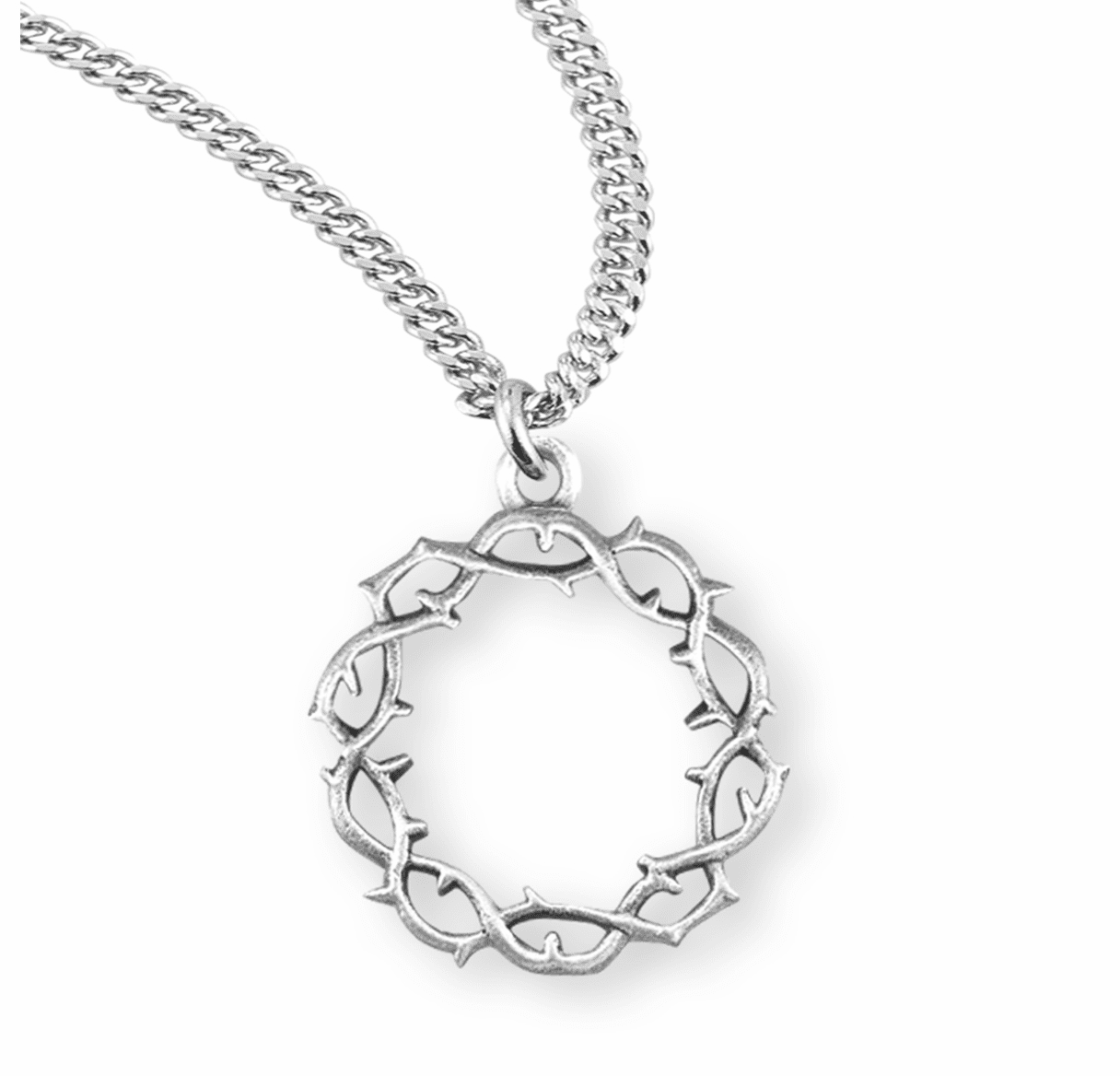 """Crown of Thorns Sterling Silver Pendant with 20"""" Chain by HMH Religious"""