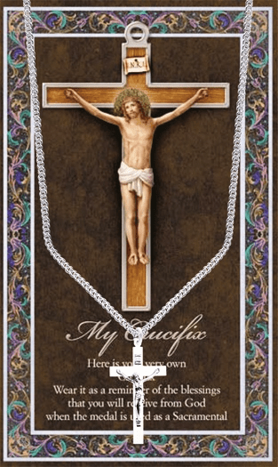Crucifix Cross Pewter Medal Necklace with Prayer Pamphlet by Hirten