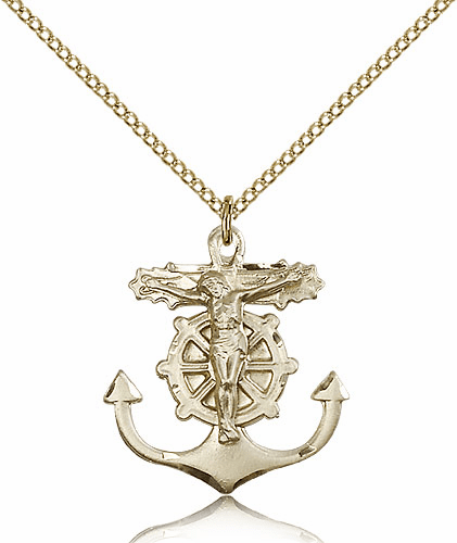 Crucifix with Anchor 14kt Gold-Filled Medal Necklace by Bliss Manufacturing
