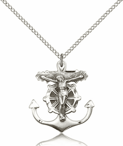 Crucifix with Anchor Sterling Silver Medal Necklace by Bliss Manufacturing