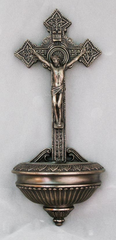 Crucifixion Cold-Cast Bronze Holy Water Font by Veronese Collection