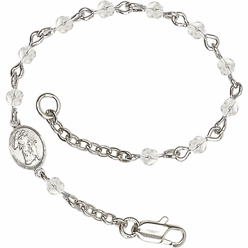 Crystal Checo Fire Polished Beads w/Pewter Guardian Angel Charm Bracelet by Bliss Mfg